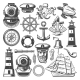 Nautical Symbols and Marine Sailing Vector Icons