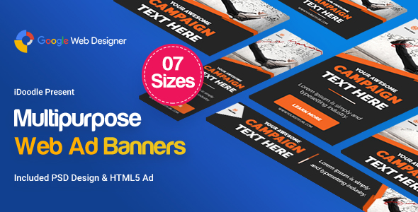 Multi Purpose Banners HTML5 D4 - Google Web Designer            Nulled