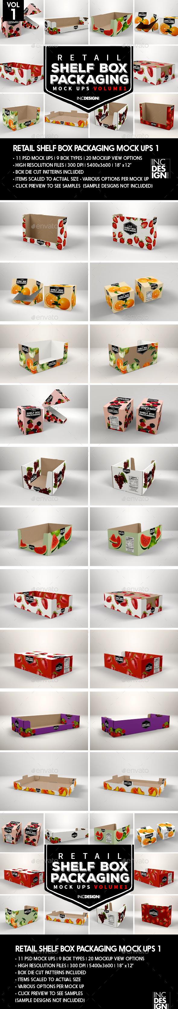 Retail Shelf Box Packaging MockUps - Food and Drink Packaging