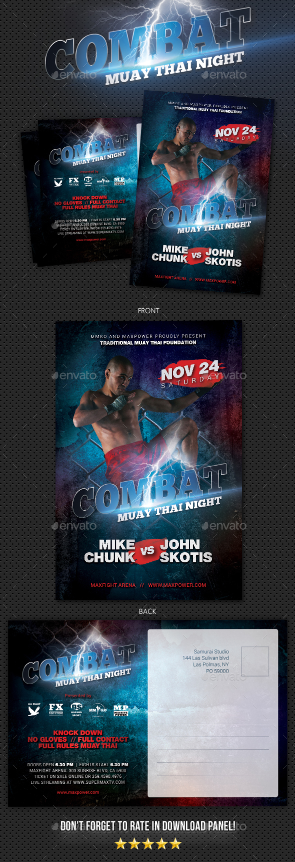Combat Muay Thai Postcard - Cards & Invites Print Templates