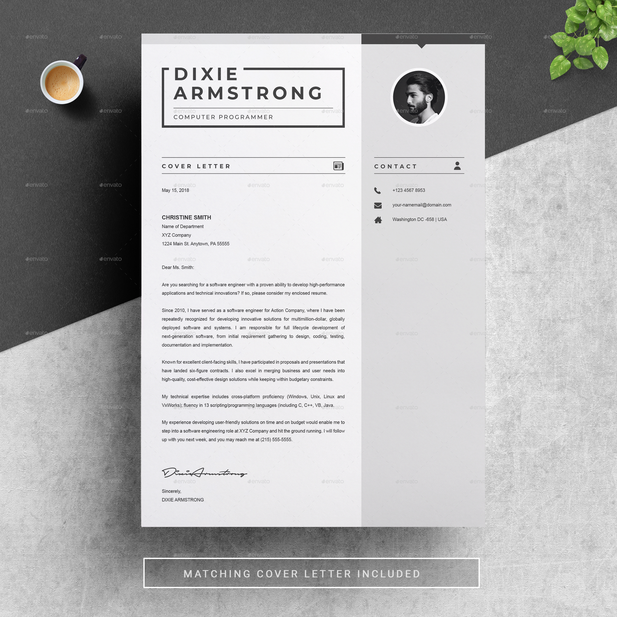 03 Preview Image Set 01 Clean Professional Creative And Modern Resume CV Curriculum Vitae Design Template MS Word Apple Pages PSD Free Download