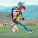 Cartoon Woman Tourist with Backpack Runs Fast