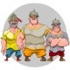 Three Cartoon Men in Knightly Helmets - GraphicRiver Item for Sale