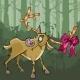 Cartoon Deer with a Bow on Horns