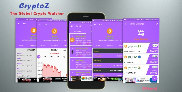 CryptoZ - Crypto Market Watcher   Android Studio Project   Admob Ads   Beautiful UI - CodeCanyon Item for Sale