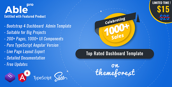 Able pro 7.0 Responsive Bootstrap 4 Admin Template + Angular 6, 5 & 4