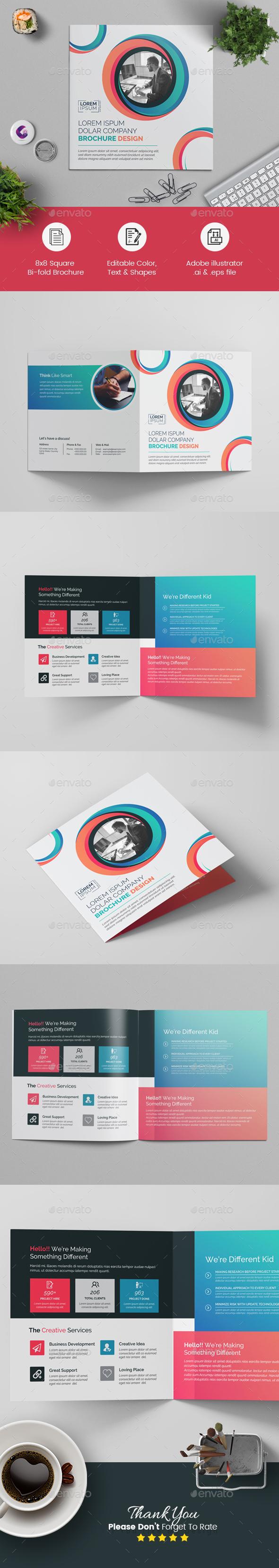 Colorful Square Bi-fold Brochure - Corporate Brochures