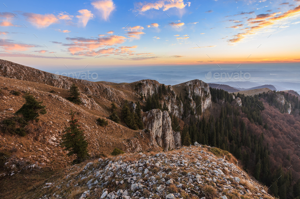 mountain landscape in Buila Vanturarita Mountains, Romania - Stock Photo - Images