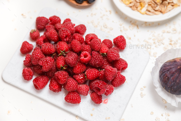 Fresh and sweet raspberries background - Stock Photo - Images