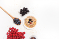 Healthy breakfast. Food cereal concept with fresh fruits isolated on white - PhotoDune Item for Sale