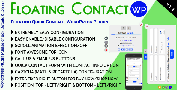 Floating Contact - Floating Quick Contact WordPress Plugin - CodeCanyon Item for Sale