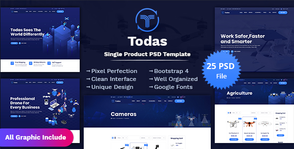 Todas - Single Product PSD Template