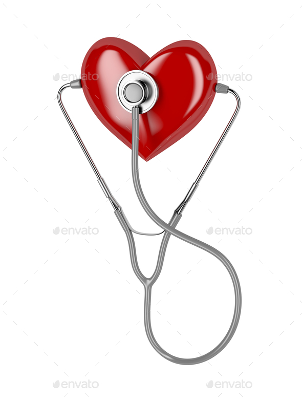 Red heart and a stethoscope - Stock Photo - Images