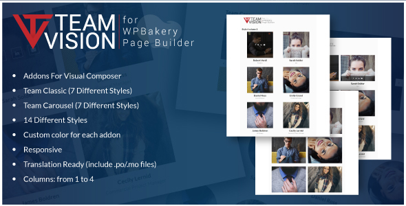 Teamvision - Team Addons for WPBakery Page Builder for WordPress (formerly Visual Composer) - CodeCanyon Item for Sale