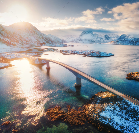 Aerial view of Fredvang bridges at sunset in winter - Stock Photo - Images