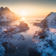 Aerial view of beautiful fjord at sunset in Lofoten Islands - PhotoDune Item for Sale