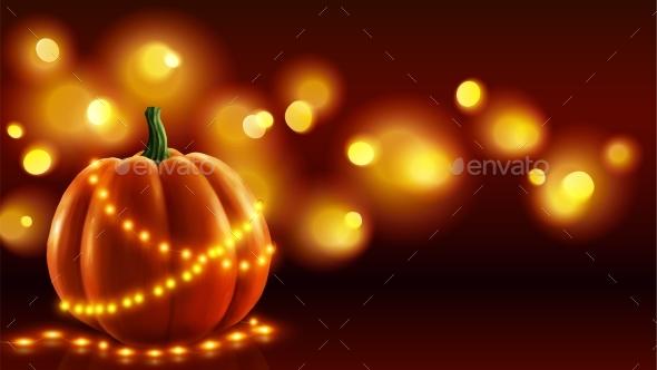 Realistic Pumpkin Vector Illustration with Orange - Halloween Seasons/Holidays