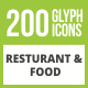 200 Restaurant & Food Glyph Inverted Icons - GraphicRiver Item for Sale