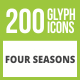 200 Four Seasons Glyph Inverted Icons - GraphicRiver Item for Sale