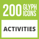 200 Activities Glyph Inverted Icons - GraphicRiver Item for Sale