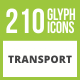 210 Transport Glyph Inverted Icons - GraphicRiver Item for Sale
