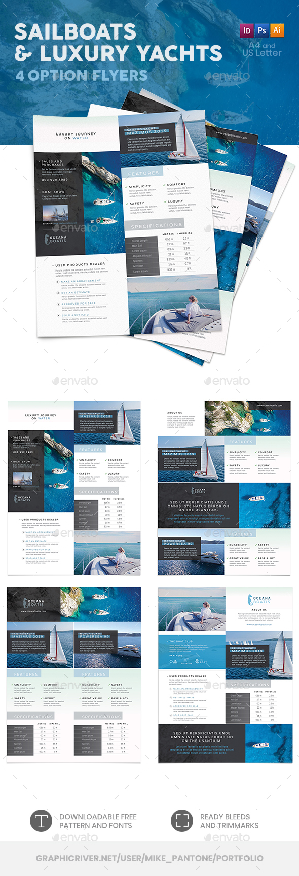 Sailboats and Luxury Yachts Flyers – 4 Options - Corporate Flyers