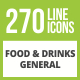 270 Food & Drinks General Glyph Inverted Icons - GraphicRiver Item for Sale