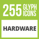 256 Hardware Glyph Inverted Icons - GraphicRiver Item for Sale