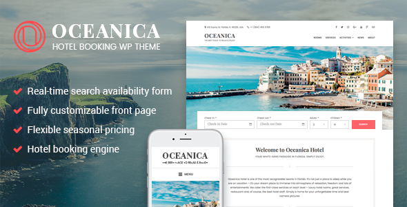 Oceanica - Hotel Booking WordPress Theme - Travel Retail