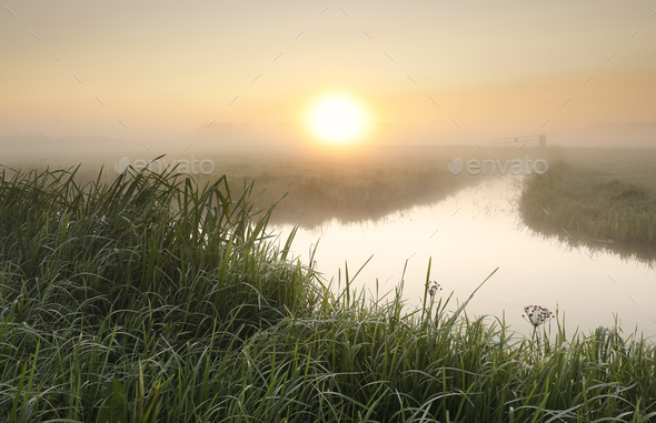 misty sunrise over river in countryside - Stock Photo - Images