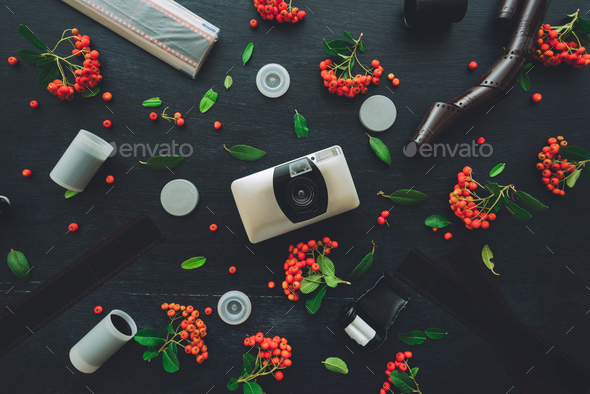 Vintage retro film camera flat lay - Stock Photo - Images