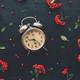 Flat lay vintage alarm clock on dark background - PhotoDune Item for Sale