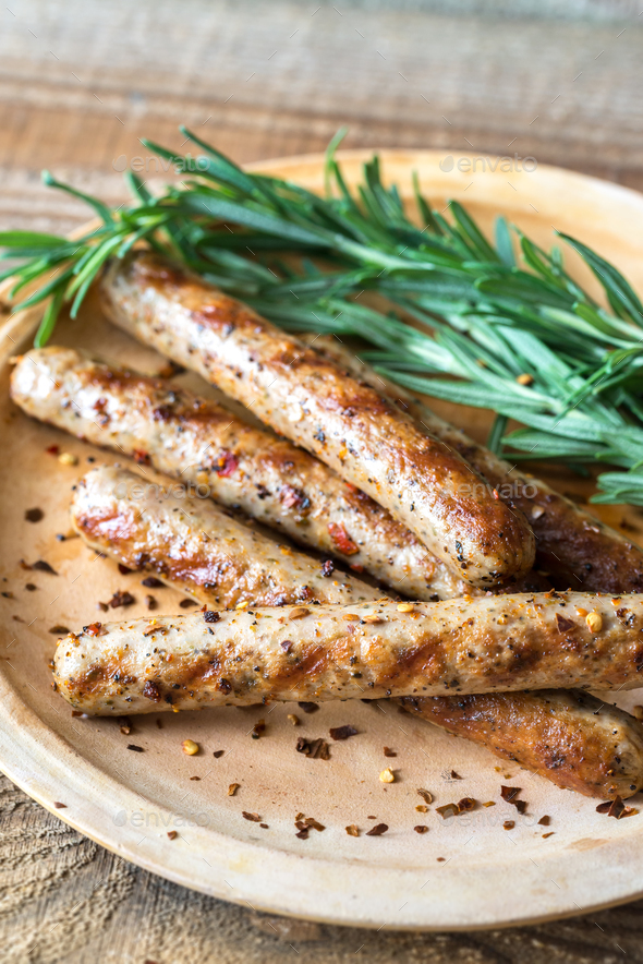 Grilled sausages with rosemary - Stock Photo - Images
