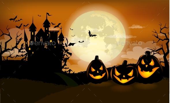 Halloween Party Invitation with Dracula Castle - Halloween Seasons/Holidays