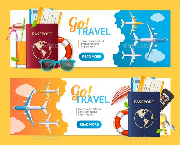 Go Travel Banner Horizontal Set - Travel Conceptual