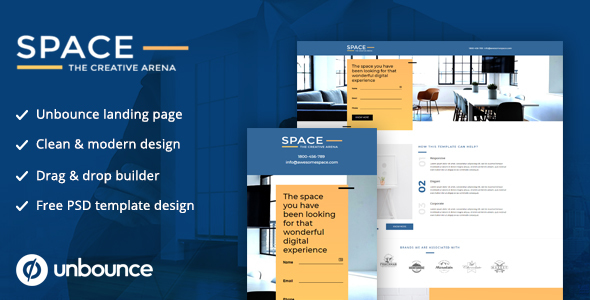 Unbounce Landing Page Template - SPACE by thedreamerdesignsindia