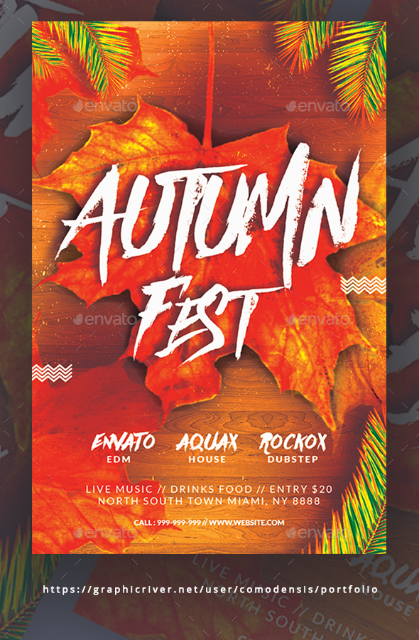 Fall Festival Flyer Template - Clubs & Parties Events