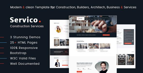 Servico – Construction Services HTML5 Template