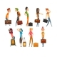 People Carrying Heavy Suitcases Set - GraphicRiver Item for Sale