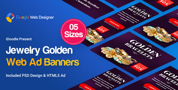Jewelry Golden Banner HTML5 - GWD            Nulled