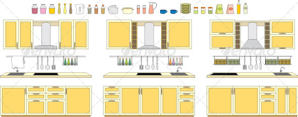 Sets of kitchen furniture - Objects Vectors