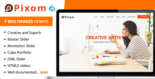 Pixom - Multipages Responsive Business Drupal 8.9 Theme