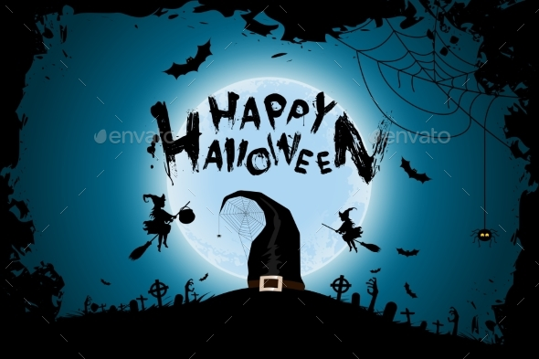 Halloween Background with Witches and Moon - Halloween Seasons/Holidays