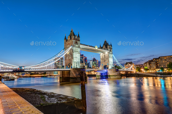 The Tower Bridge in London at night - Stock Photo - Images