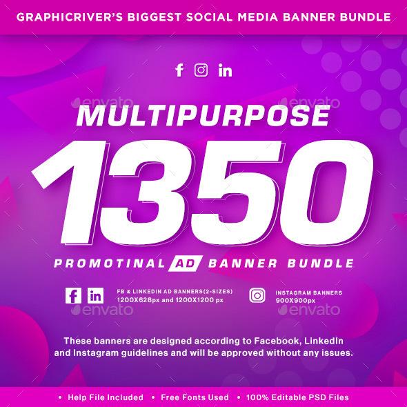 Facebook & Instagram Ad Banners - 1350 Files -  Sale!!! - Social Media Web Elements