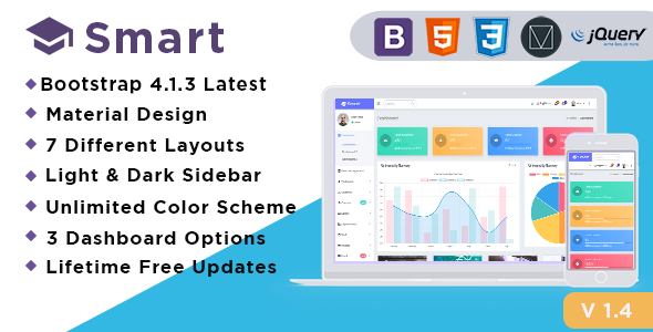 Smart - Bootstrap 4 Admin Dashboard Template for University, School & Colleges