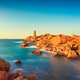 Ploumanach lighthouse sunset in pink granite coast, Brittany, Fr - PhotoDune Item for Sale