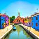 Venice landmark, Burano island canal, colorful houses, church an - PhotoDune Item for Sale