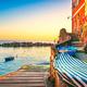Riomaggiore village street, boats and sea. Cinque Terre, Ligury, - PhotoDune Item for Sale