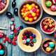 Colorful beads in wooden bowls - PhotoDune Item for Sale